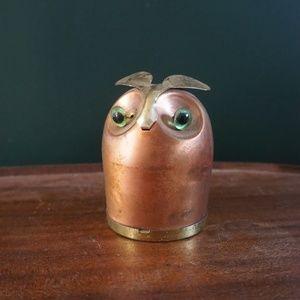 vtg mid century modern owl coin bank